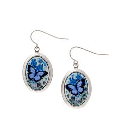 Look at this #zulilyfind! Silver & Blue Butterfly Drop Earrings #zulilyfinds