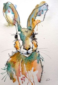 Hare 3 mixed media painting by art by sarah white art Watercolor Animals, Watercolor And Ink, Rabbit Art, Bunny Art, Animal Paintings, Ink Paintings, Watercolour Paintings, Art Graphique, Mixed Media Painting