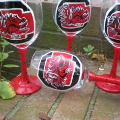 Hand painted fighting SC gamecocks goblets set of 4