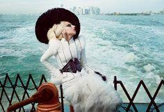 Lady Gaga wearing Alexander McQueen on the Staten Island Ferry by Annie Leibowitz for Vanity Fair.