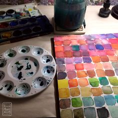 Mixing up some watercolor swatches for reference.