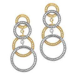 14k Two Tone Circle Earrings. Fancy Earrings, Gold Earrings,