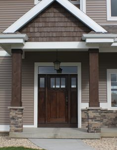 """Similar to this, but without the """"dog ears"""" and with columns painted to match light trim. Exterior Siding Colors, Craftsman Exterior, Exterior Paint Colors For House, Cottage Exterior, Paint Colors For Home, Exterior Design, Craftsman Columns, Craftsman Trim, Contemporary Garage Doors"""