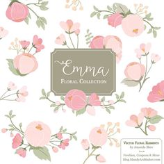 Emma Floral Bunches Clipart & Vectors - pink flowers, pastel flowers, flower clipart, floral clipart, wedding flowers