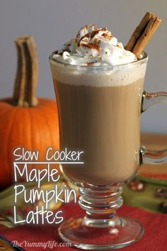 Slow Cooker Maple Pumpkin Spice Lattes -- A Big Batch Party Recipe. www.theyummylife.com/pumpkin_spice_latte