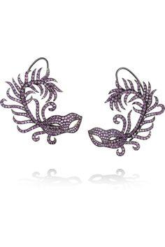 Carnaval a Venise 18-karat blackened white gold amethyst ear cuffs, Lydia Courteille