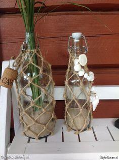 maljakko,koristeet,lasipullo,koriste,juuttinaru Handicraft, Upcycle, Glass Vase, Bottle, Diy, Decoration, Home Decor, Bottles, Craft
