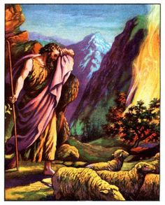 """Exodus 3:1-4:17..While tending sheep on Mount Horeb, Moses saw a burning bush, but it was not burning up. Moses went  to see,  the voice of God spoke. God said He had seen His Hebrew people in slavery in Egypt. God had come from heaven to pick Moses to rescue them. Moses was terrified. He told God he couldn't. God promised to be with him. Then Moses asked a name to explain who sent him. God said, """"I AM WHO I AM. This is what you are to say to the Israelites: 'I AM has sent me to you.'"""""""