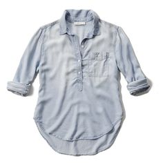 Abercrombie & Fitch Denim Pullover Pocket Shirt ($35) ❤ liked on Polyvore featuring tops, shirts, denim, draped shirt, pullover shirt, sweater pullover, abercrombie fitch shirt and drape top