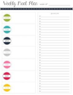 Meal Planning  Grocery List Printable  COLORFUL by MrsPrinceandCo, $3.00
