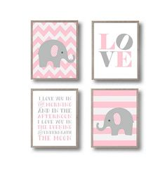 Elephants Nursery art print in Pink and Gray. Love sign & I love you in the morning quotation 8x10 Set of 4 INSTANT DOWNLOAD nursery printables. Best price for set of 4! ) If you do not need any custom changes, just purchase this item and download the images. Enjoy! ◄ITEM INFO►