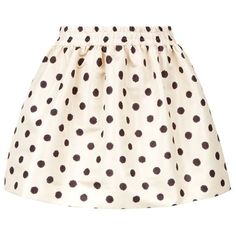 Red Valentino Polka Dot Mini Skirt (5 185 ZAR) ❤ liked on Polyvore featuring skirts, mini skirts, bottoms, ruched mini skirt, elastic waist mini skirt, short mini skirts, short skirts and flare skirt