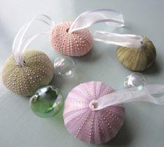 Beach Decor Sea Urchin Christmas Ornament Set - Nautical Urchin Holiday Ornaments, 4PC