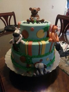 Safari baby shower cake from candy's cupcakes