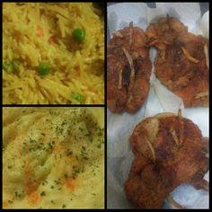 Fried ricr pork chops and mashed potatoes