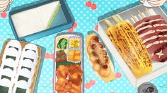 Grilled squid and corn, takoyaki, onigiri, chicken karaage, simmered kabocha, and sandwiches!Koufuku Grafitti, Episode 2