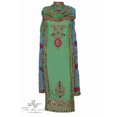 Elegant green and aqua suit adorn in pretty ornate work-Mohan's the chic window