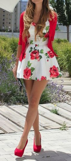 Rose with Stem White Dress with Red Shoes and Sweater $24.99 rayban sunglasses  http://www.okglassesvips.com