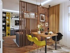 20 Best Multifunctional Room Dividers To Spice Up Your Home Check out the most outstanding multifunctional space divider that will make your spacious rooms look resourceful. Grab the perfect one from the given examples. Living Room Partition, Room Partition Designs, Wood Partition, Living Room Sets, Home Living Room, Living Room Decor, Dining Room, Interior Design Living Room, Living Room Designs