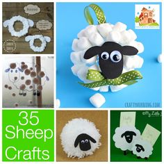 35 Sheep spring lamb crafts - also good website to check for other craft ideas Bible Crafts For Kids, Toddler Crafts, Preschool Crafts, Art For Kids, Activities For Kids, Lion And Lamb, Sheep And Lamb, March Crafts, Spring Crafts
