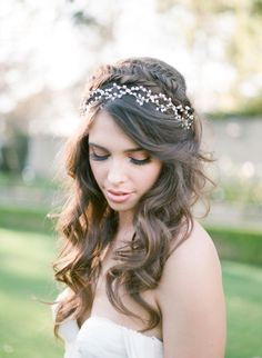 Romantic crown braid + headpiece: http://www.stylemepretty.com/california-weddings/beverly-hills/2016/06/03/the-only-secret-garden-wedding-inspiration-you-need-to-see/ | Photography: McCune Photography - http://www.mccune-photography.com/