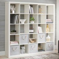 Large 25 Cube Bookcase Bookshelf Storage Shelves Organizer Room Divider White -Bookshelves - Ideas of Bookshelves Room Divider Headboard, Room Divider Shelves, Bamboo Room Divider, Glass Room Divider, Room Divider Walls, Bookshelf Storage, Cube Bookcase, Cube Shelves, Cube Storage