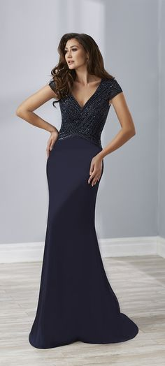 e10c556dc78 Christina Wu Elegance 17892 Sultry Trumpet crepe gown featuring dyed to  match beading