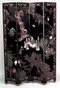 2 Asian Chinese style (20th Cent) black coromandel 4 fold screens with scene with people on one side and floral & bird design on back (PRICED EACH)<br/><span class='onhold'>[ON HOLD]</span>
