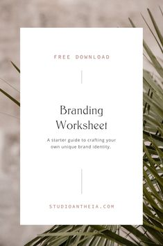 Free brand worksheet download | Branding tips, branding ideas, branding worksheet, small business tips, growth tips, marketing tips for female creative business owners, branding for health and wellness business owners | Studio Antheia Branding Social Media Branding, Business Branding, Personal Branding, Business Inspiration, Design Inspiration, Business Articles, Business Tips, Online Business, Branding Design