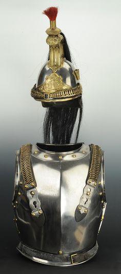 Ensemble casque et cuirasse de Cuirassiers de la Garde Impériale, modèle 1854, Second Empire.