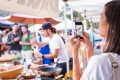 Bonnie Tsang shoots Matt making Panzanella Salad at Yamashiro Farmer's Market.