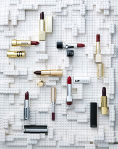 Beauty in Marie Claire Magazine NL 2015 Photography by Frank Brandwijk 'Lego Lip Sticks' Conceptual Photography, Advertising Photography, Still Life Photography, Beauty Photography, Product Photography, Cosmetic Display, Banners, Magazine Layout Design, Beauty Shoot