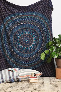 Blue All In One Mandala Queen Tapestry
