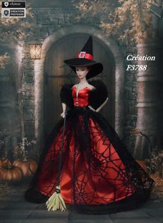 Robe Barbie Halloween N°12 Vêtement sorcière d'Halloween pour poupée Barbie Silkstone Fashion Royalty Muse f3788