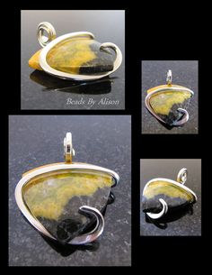 Bumble Bee Jasper sterling silver pendant Gemstones & Cabochons - Beads By Alison