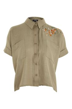 a6e31ceb4f7 PETITE Panther Embroidered Shirt - Shirts   Blouses - Clothing