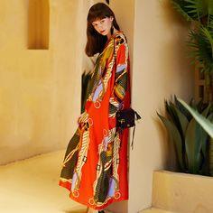 Women V-Neck Printing Fashion Style Casual Loose Maxi Dress Bohemia Dress, Holiday Dresses, Fashion Prints, Silk Dress, Types Of Sleeves, Kimono Top, Saree, V Neck, Long Sleeve