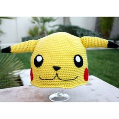 Pikachu -ish Hat : Totally Cute Japanese Pokemon -ish Cartoon Crochet... (39 AUD) ❤ liked on Polyvore featuring hats