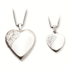 Amazon.com: Sterling Silver Polished & Satin Finish Floral Design Heart Locket Pendant Necklace Set: Clothing