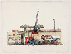 Drawing made in 1972 by Frits Müller of a caisson erected around the building site at Waterlooplein during construction of the underground station. The caisson is painted with slogans protesting against the war in Vietnam.
