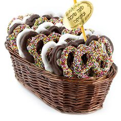 Buy and Save on Cheap Rosh Hashanah Chocolate Pretzel Gift Basket at Wholesale Prices. Offering a large selection of Rosh Hashanah Chocolate Pretzel Gift Basket. Cheap Prices on all Bulk Nuts, Bulk Candy & Bulk Chocolate. Chocolate Lovers, Kosher Gift Baskets, Bulk Nuts, High Holidays, Yom Kippur, Bulk Candy, Rosh Hashanah, New Year Gifts