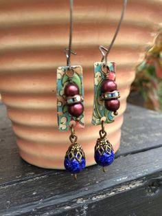 Vintage Tin dangle earrings, freshwater pearls, rhinestone rondelles. Darling vintage look.  Tilliegirlstudio