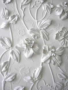 Wall art by Olefir Design. Something similar to this can be made by gluing silk flowers or paper flowers to a canvas and spray painting it white. You can also draw out designs around the flowers with glue before painting. Shades Of White, White Aesthetic, New Wall, Happy Weekend, Spray Painting, Painting Walls, Silk Flowers, White Flowers, Fake Flowers