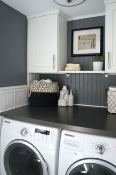 Bead board, grey walls, large tabletop and plenty of storage in laundry roomClick to check a cool blog!Source for the post: Click