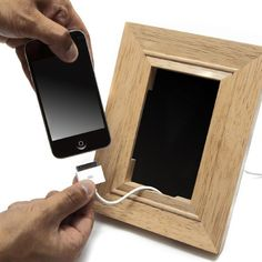 uitable for all mobile phones, this stylish wooden frame enables you to hook up to your charger and frame your phone while it charges, keeping it out of harm's way. Price: $33.00