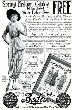 Old Design Shop ~ free printable: Bedell Spring Fashion Catalogue Ad 1918