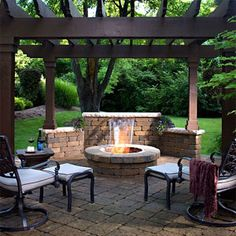 pergola, waterfall, fire pit