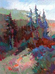 "Treeline Shadows by Mary Maxam Oil ~ 8"" x 6"""