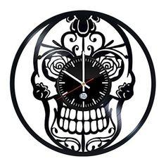 Record Wall, Skull Design, Vinyl Records, Best Gifts, Clock, Store, Handmade, Shopping, Watch