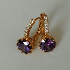 Earnings. Beautiful design white & purple stone hoop earrings with 24k gold plated jewelry. No Trade. No Hold. No PayPal. Jewelry Earrings